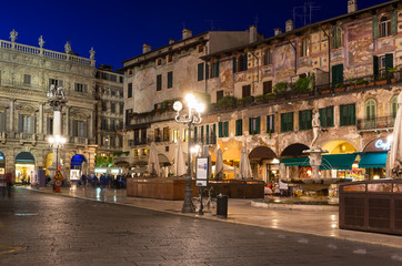 Night view of the Piazza delle Erbe in center of Verona, Italy