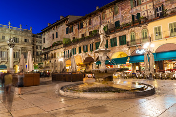 Night view of the Piazza delle Erbe in center of Verona, Italy