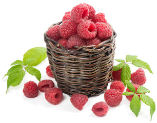 Close up of raspberries in basket