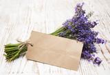Fototapety Lavender on vintage wood