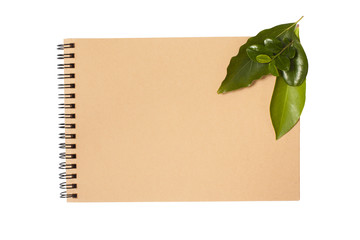notebook with green leaves