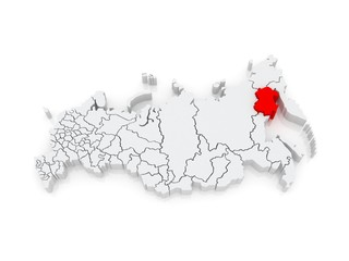Map of the Russian Federation. Magadan region.