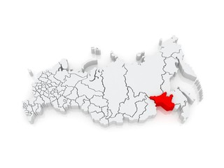 Map of the Russian Federation. Amur region.
