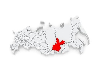 Map of the Russian Federation. Irkutsk region.