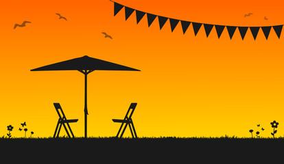 Sommerabend Garten Stuhl Tisch