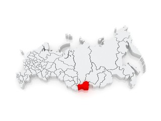 Map of the Russian Federation. Republic of Tyva (Tuva).
