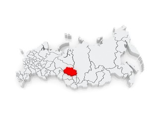 Map of the Russian Federation. Tomsk region.