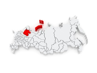 Map of the Russian Federation. Arkhangelsk region.