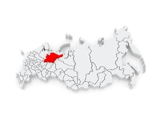 Map of the Russian Federation. Komi Republic.