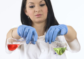 Young girl experimenting with chemicals