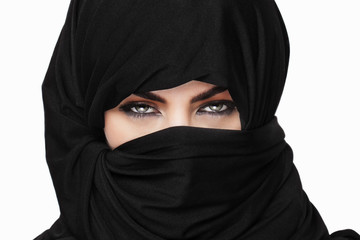 Girl wearing burqa closeup