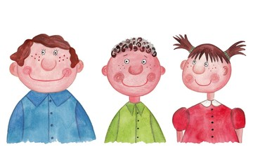 Boys and girl. Watercolors