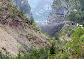 vajont dam seen from the monte toc landslide 1