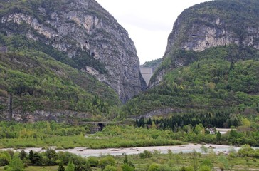 vajont Dam as seen from the town of Longarone