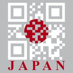 Japan QR code flag, vector