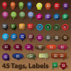 Collection of 45 Selling Badges, Tags, Labels