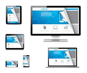Responsive web design vector concept with curved paper corner