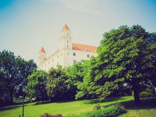 Retro look Bratislava Castle, Slovakia