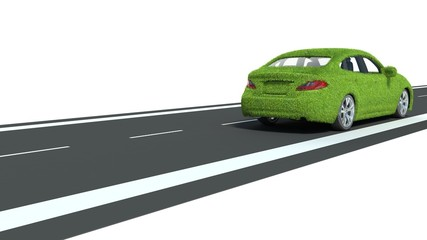 Concept of the eco-friendly car on the road