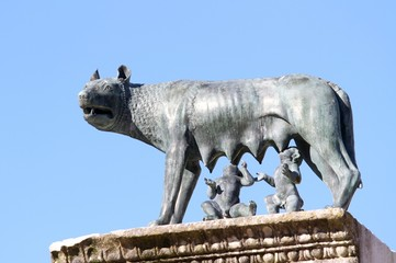 Perfect statue of CAPITOLINE WOLF with the twins Romulus and Rem