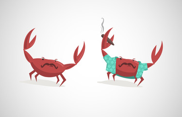 Vector illustration of two funny cartoon crabs