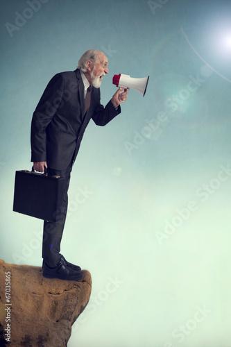 senior businessman loudhailer