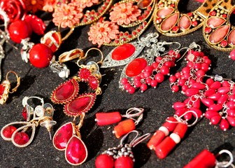 red stones earrings for sale flea market finds and ancient thing