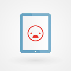Tablet and unhappy smiley