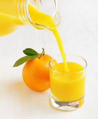 Glass of orange juice on a table