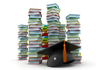 graduation mortarboard and stack of books