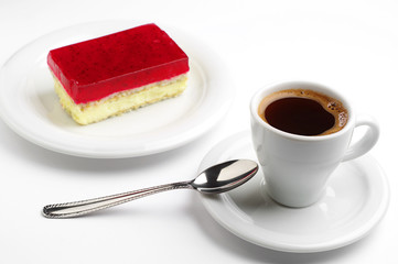 Coffee and strawberry cake