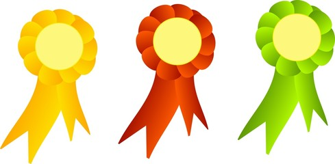 Three decorated ribbons