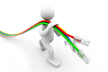 Man with network cables