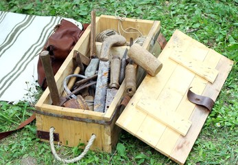 antique rust working tools for carpenters and Farriers