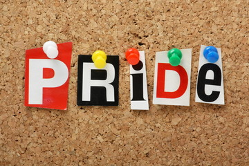 The word Pride on a cork notice board