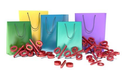 Background with shopping color bags. Discounts