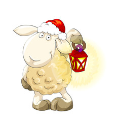 Symbol of year 2015. Lovely lamb in Santa's cap with lantern
