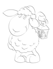 Symbol of year 2015. Lovely lamb in Santa's cap with lantern