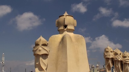 Sculptural towers on the roof of Casa Mila. Antoni Gaudi.