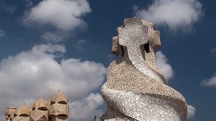 Sculptural towers on the roof of Casa Mila. Antoni Gaudi