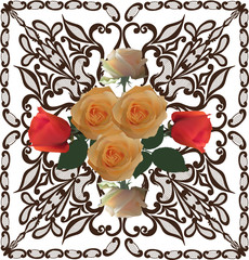 bunch of seven roses on brown decorated background