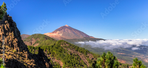 Aluminium Vulkaan Panoramic of the Teide and Orotava Valley