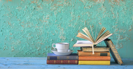 old books and cup of coffee, free copy space