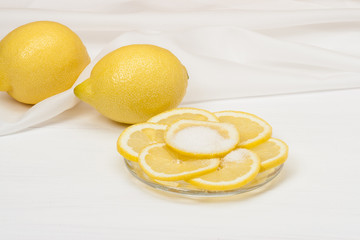 Fresh Lemon Slices With Sugar