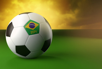 3d soccer ball with Brazil flag on green grass