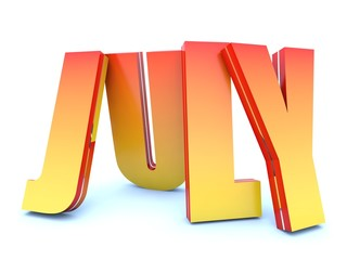 July - calendar month - 3D hot letters