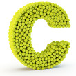 3D letter C made from tennis balls