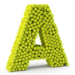 3D letter A made from tennis balls