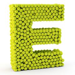 3D letter E made from tennis balls