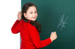 girl  near blackboard